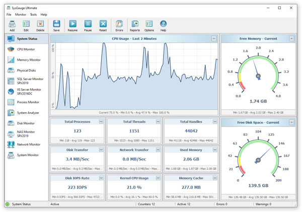 SysGauge is a free system monitoring utility.