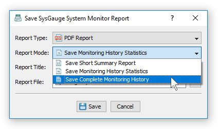 SysGauge System Monitoring Report Modes